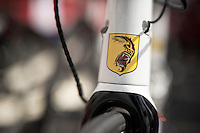 "André ""The Gorilla"" Greipel (DEU/Lotto-Belisol) logo/shield stamped to the head tube of his Ridley Noah Fast<br /> <br /> 2014 Tour de France<br /> stage 15: Tallard - Nîmes (222km)"