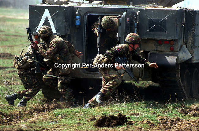 British KFOR soldiers in their armoured veichle on May 10, 1999 outside Skopje, Macedonia. A training exercise was done before they entered Kosovo in the beginning of June 1999. .(Photo: Per-Anders Pettersson/ Getty Images)