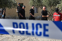 "Pictured: Special forensics police officers search a field in Kos, Greece. Monday 26 September 2016<br /> Re: Police teams searching for missing toddler Ben Needham on the Greek island of Kos have said they are ""optimistic"" about new excavation work.<br /> Ben, from Sheffield, was 21 months old when he disappeared on 24 July 1991 during a family holiday.<br /> Digging has begun at a new site after a fresh line of inquiry suggested he could have been crushed by a digger.<br /> South Yorkshire Police (SYP) said it continued to keep an ""open mind"" about what happened to Ben."