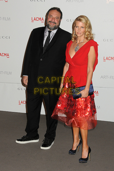 Joel Silver & & wife Karyn.The Inaugural Art and Film Gala held at LACMA in Los Angeles, California, USA..November 5th, 2011.full length suit red dress married husband black beard facial hair silver shirt.CAP/ADM/BP.©Byron Purvis/AdMedia/Capital Pictures.