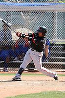 Hector Sanchez of the San Francisco Giants plays in a minor league spring training game against the Chicago Cubs at the Cubs minor league complex on March 29, 2011  in Mesa, Arizona. .Photo by:  Bill Mitchell/Four Seam Images.