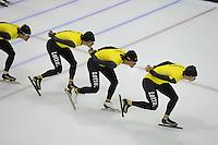 SCHAATSEN: HEERENVEEN: 24-10-2014, IJsstadion Thialf, Topsporttraining Team LottoNL - Jumbo, Wouter olde Heuvel, Kjeld Nuis, Sven Kramer, ©foto Martin de Jong