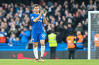 Cesar Azpilicueta of Chelsea applauds the home supporters after the Premier League match between Chelsea and Newcastle United at Stamford Bridge, London, England on 2 December 2017. Photo by David Horn.