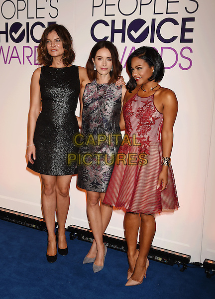BEVERLY HILLS, CA - NOVEMBER 03: (L-R) Actresses Betsy Brandt, Abigail Spencer and Christina Milian attend the People's Choice Awards 2016 - Nominations Press Conference at The Paley Center for Media on November 3, 2015 in Beverly Hills, California.<br /> CAP/ROT/TM<br /> &copy;TM/ROT/Capital Pictures