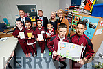 Fifth class pupils from Moyderwell Primary School, Tralee who won the Bank of Ireland Enterprise BizWorld award for the school, were pictured on Wednesday, April 26th last, in the foreground were l-r: Evan Quilligan and Moise Radulescu, front l-r: Lily O'Brien, Jamie Williams, Hala Rami Elyas and James Wong. Back l-r: Pat Carmody (Sales Manager, Bank of Ireland, Tralee), Gerry Enright (Manager, Bank of Ireland, Tralee), Fiona McKeon (CEO, BizWorld Ireland) and Moira Quinlan (Principal, Moyderwell Primary School, Tralee).