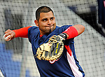 12 April 2008: Washington Nationals' catcher Johnny Estrada warms up prior to a game against the Atlanta Braves at Nationals Park, in Washington, DC. The Braves defeated the Nationals 10-2...Mandatory Photo Credit: Ed Wolfstein Photo