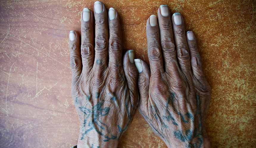 Eagle tattoos on the hands of Holy Marbown from Pine Ridge Reservation. Both Bald and Golden Eagles (and their feathers) are highly revered and considered sacred within Lakota traditions, culture and religion. They are honored with great care and shown the deepest respect. They represent honesty, truth, majesty, strength, courage, wisdom, power and freedom. As they roam the sky, they are believed to have a special connection to God.