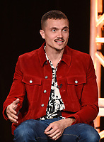 """PASADENA, CA - JANUARY 9: Cast member Karl Glusman attends the panel for """"Devs"""" during the FX Networks presentation at the 2020 TCA Winter Press Tour at the Langham Huntington on January 9, 2020 in Pasadena, California. (Photo by Frank Micelotta/FX Networks/PictureGroup)"""