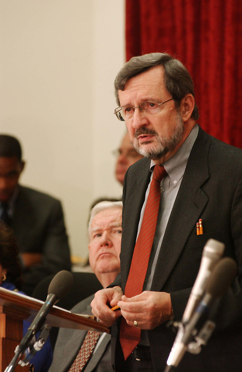 10/9/03.FISCAL 2004 SUPPLEMENTAL FOR IRAQ AND AFGHANISTAN--Ranking Democrat David R. Obey, D-Wis., during the House Appropriations Committee markup of draft legislation that would make fiscal 2004 supplemental appropriations for operations in Iraq and Afghanistan. Looking on is John P. Murtha, D-Pa..CONGRESSIONAL QUARTERLY PHOTO BY SCOTT J. FERRELL