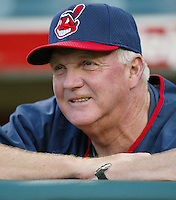 Cleveland Indians Manager Charlie Manuel before a 2002 MLB season game against the Los Angeles Angels at Angel Stadium, in Los Angeles, California. (Larry Goren/Four Seam Images)