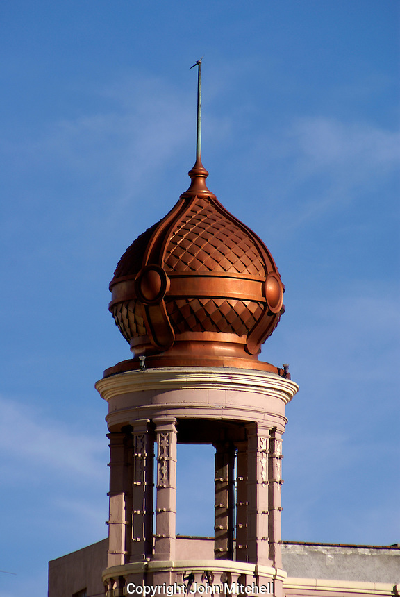 Moorish copper tower in the city of Puebla, Mexico. The historical center of Puebla is a UNESCO World Heritage Site.