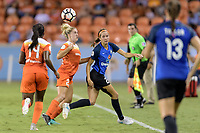 Houston, TX - Sunday August 13, 2017:  Camille Levin and Shea Groom during a regular season National Women's Soccer League (NWSL) match between the Houston Dash and FC Kansas City at BBVA Compass Stadium.