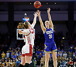 SIOUX FALLS, SD - MARCH 10: Tori Nelson #20 of the South Dakota State Jackrabbits shoots a jumper over Monica Arens #11 of the South Dakota Coyotes during the women's championship game at the 2020 Summit League Basketball Tournament in Sioux Falls, SD. (Photo by Richard Carlson/Inertia)