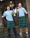Forfar players Iain (left) and Ross Campbell (right) get their hands on the Scottish Cup ahead of their game against Falkirk.