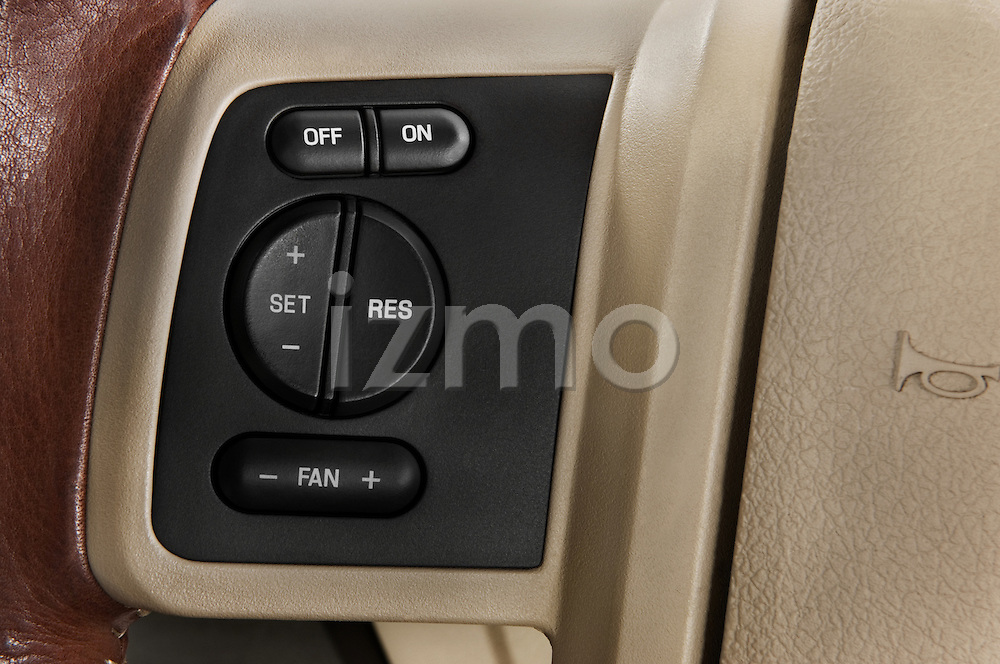 Steering wheel close up detail of a 2008 Ford F350 Crew Cab