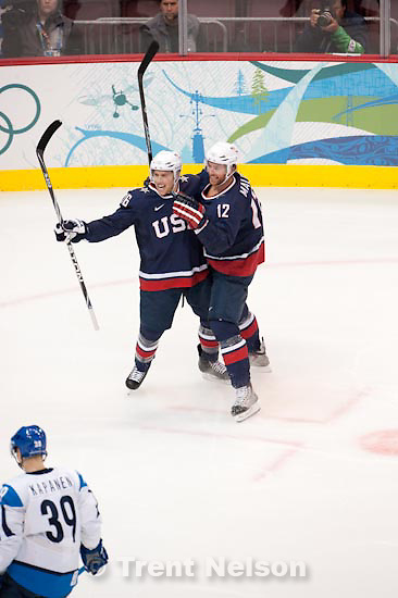 Trent Nelson  |  The Salt Lake Tribune.USA vs. Finland, men's Ice Hockey at the Canada Hockey Place, Vancouver, XXI Olympic Winter Games, Friday, February 26, 2010. Joe Pavelski and Ryan Malone celebrate Malone's goal.