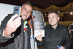 "© Joel Goodman - 07973 332324 . 03/11/2017 . Manchester , UK . LUTZ BACHMANN , founder of the PEGIDA movement poses with TOMMY ROBINSON (real name Stephen Yaxley-Lennon ) at the launch of the former EDL leader's book "" Mohammed's Koran "" at Castlefield Bowl . Originally planned as a ticket-only event at Bowlers Exhibition Centre , the launch was moved at short notice to a public location in the city . Photo credit : Joel Goodman"