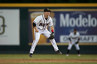 Modesto Nuts second baseman Donnie Walton (7) during a California League game against the Lake Elsinore Storm at John Thurman Field on May 12, 2018 in Modesto, California. Lake Elsinore defeated Modesto 4-1. (Zachary Lucy/Four Seam Images)