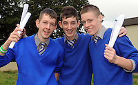 Sean O'Sullivan, Sam Moriarty and Shane Corkery with their Junior Cert results at Presentation Secondary School Milltown  on Wednesday.  Picture: Eamonn Keogh (MacMonagle, Killarney)