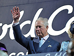 Prince Charles waves. Opening Ceremony. XXI Commonwealth games. Carrara Stadium. Gold Coast 2018. Queensland. Australia. 04/04/2018. ~ MANDATORY CREDIT Garry Bowden/SIPPA - NO UNAUTHORISED USE - +44 7837 394578