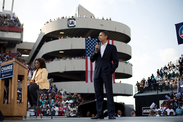 December 9, 2007. Columbia, SC.. Democratic presidential hopeful and US Senator, Barack Obama held a rally for an estimated 29,000 people at the University of South Carolina's football stadium with special guest Oprah Winfrey.. Barack Obama took the stage after Oprah and Michelle Obama.. .