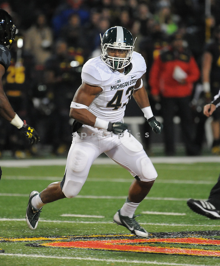 Michigan State Spartans Ed Davis (43) during a game against the Maryland Terrapins on November 15, 2014 at Byrd Stadium in College Park, MD. Michigan State beat Maryland 37-15.