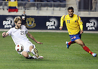 Clarence Goodson#21 of the USA MNT intercepts a pass to Teofilo Gutiererrez #11 of Colombia during an international friendly match at PPL Park, on October 12 2010 in Chester, PA. The game ended in a 0-0 tie.