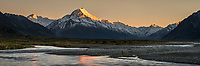 Golden hour of dawn on Aoraki Mount Cook 3,724m with Tasman River, Aoraki Mt. Cook National Park, UNESCO World Heritage Area, Mackenzie Country, New Zealand, NZ
