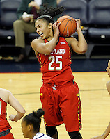 Maryland forward Alyssa Thomas (25) grabs a rebound during the game Thursday in Charlottesville, VA. Photo/The Daily Progress/Andrew Shurtleff