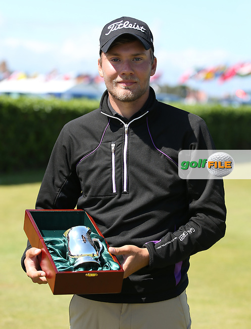 The top 3 lowest scoring players in the qualifying rounds receive a tankard. Pictured Daniel Brown (Bedale), during the Quarter Finals at The Amateur Championship 2014 from Royal Portrush Golf Club, Portrush, Northern Ireland. Picture:  David Lloyd / www.golffile.ie