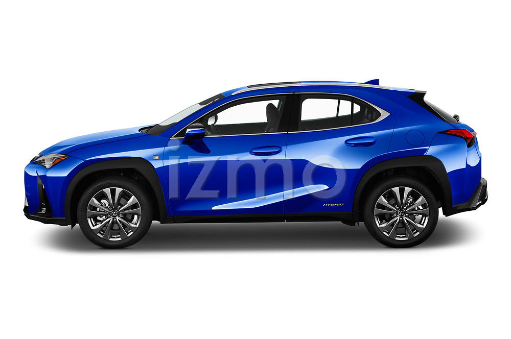 Car driver side profile view of a 2019 Lexus UX F-Sport  5 Door SUV