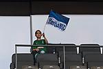 10.09.2017, Olympiastadion, Berlin, GER, 1.FBL, Hertha BSC vs SV Werder Bremen<br /> <br /> im Bild<br /> junger Fan im Werder Trikot schingt auf Trib&uuml;ne eine Hertha BSC Fahne, <br /> <br /> Foto &copy; nordphoto / Ewert
