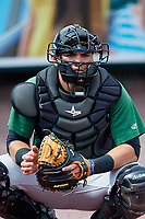 Clinton LumberKings catcher Yojhan Quevedo (11) warms up a pitcher in the bullpen before a game against the West Michigan Whitecaps on May 3, 2017 at Fifth Third Ballpark in Comstock Park, Michigan.  West Michigan defeated Clinton 3-2.  (Mike Janes/Four Seam Images)