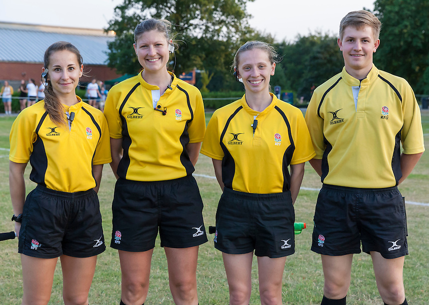 Referee Sarah Linnéa Toll with assistants, U20 England Women v U20 Canada Women at Trent College, Derby Road, Long Eaton, England, on 18th August 2016