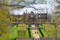 BNPS.co.uk (01202 558833)<br /> Pic: GrahamHunt/BNPS<br /> <br /> The ruins of Parnham House the morning after the fire.<br /> <br /> A £15m stately home has gone back on the market for a cut-price £2.5m after it was burnt to the ground in a suspected arson attack.<br /> <br /> Grade I listed Parnham House, near Beaminster, Dorset, is now just a charred shell of the magnificent mansion it once was following the blaze in April 2017.<br /> <br /> Its owner, hedge fund manager Michael Treichl, was arrested on suspicion of arson only to later drown in an apparent suicide. <br /> <br /> A sale for £3m was agreed for the Elizabethan manor fell through earlier this year and it has now been listed for sale again.