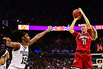 COLUMBUS, OH - MARCH 30: Kylee Shook #21 of the Louisville Cardinals takes a shot as Teaira McCowan #15 of the Mississippi State Bulldogs defnds during a semifinal game of the 2018 NCAA Division I Women's Basketball Final Four at Nationwide Arena in Columbus, Ohio. (Photo by Ben Solomon/NCAA Photos via Getty Images)