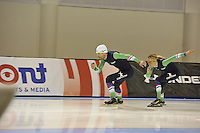 SPEED SKATING: SALT LAKE CITY: 19-11-2015, Utah Olympic Oval, ISU World Cup, training, Gianni Romme (trainer/coach Team Continu), Marianne Timmer (trainer/coach Team Continu), ©foto Martin de Jong