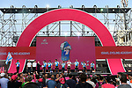 Israel Cycling Academy on stage at the Team Presentation before the 101st edition of the Giro d'Italia 2018. Jerusalem, Israel. 3rd May 2018.<br /> Picture: LaPresse/Fabio Ferrari | Cyclefile<br /> <br /> <br /> All photos usage must carry mandatory copyright credit (&copy; Cyclefile | LaPresse/Fabio Ferrari)