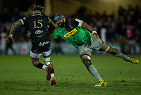 Bath Rugby's Anthony Watson is tackled by Harlequins' Tevita Cavubati<br /> <br /> Photographer Bob Bradford/CameraSport<br /> <br /> European Rugby Heineken Champions Cup Group C - Bath Rugby v Harlequins - Friday 10th January 2020 - The Recreation Ground - Bath<br /> <br /> World Copyright © 2019 CameraSport. All rights reserved. 43 Linden Ave. Countesthorpe. Leicester. England. LE8 5PG - Tel: +44 (0) 116 277 4147 - admin@camerasport.com - www.camerasport.com