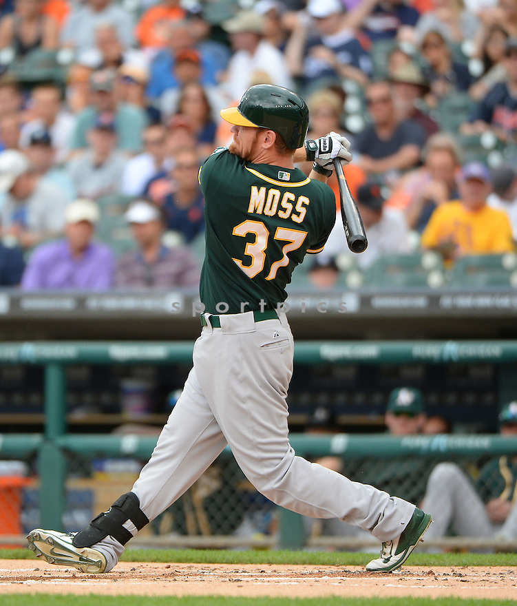 Oakland A's Brandon Moss (37) during a game against the Detroit Tigers on July 2, 2014 at Comerica Park in Detroit, MI. The Tigers beat the A's 9-3.