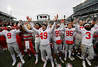 """Ohio State Buckeyes players sing """"Carmen Ohio"""" following the NCAA football game against the Michigan State Spartans at Spartan Stadium in East Lansing, Mich. on Nov. 10, 2018. Ohio State won 26-6. [Adam Cairns/Dispatch]"""