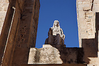 Ceres, behind the scenae frons of the Roman Theatre, built in 16 - 15 BC, promoted by Marcus Vipsanius Agrippa (63 BC-12 BC); Replica of the original sculpture dated 1st Century AD, in safe custody at the National Museum of Roman Art since 1986, Merida (Augusta Emerita, Capital of Hispania Ulterior), Extremadura, Spain