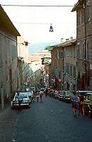 Urbino:  Looking down Via Raffaello.  Photo '83.