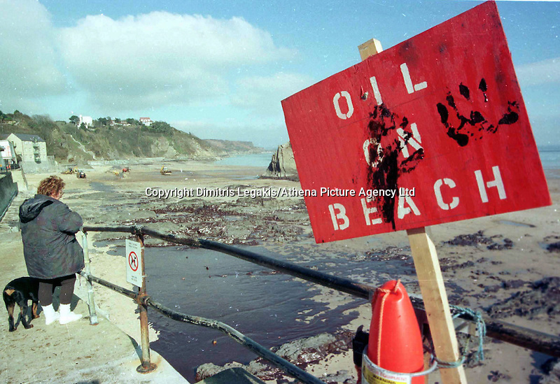 "Pictured: ""Oil On Beach"" warning sign in Tenby, Pemrokeshire<br />