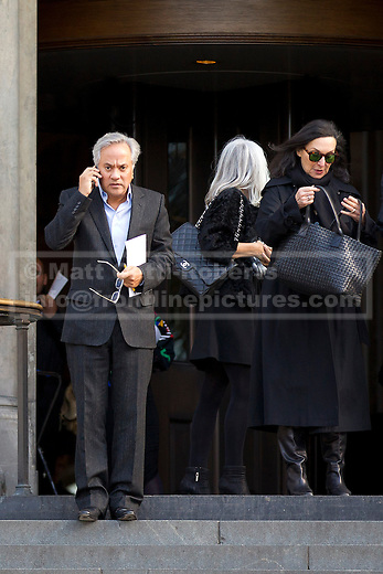 12/10/2012. LONDON, UK. Sculptor Anish Kapoor (L) is seen leaving St Paul's Cathedral after a memorial service for hairdresser Vidal Sassoon in London today (12/10/12) . Photo credit: Matt Cetti-Roberts