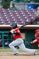 Jamal Austin #3 of the High Desert Mavericks bats against the Inland Empire 66'ers at San Manuel Stadium on April 8, 2013 in San Bernardino, California. Inland Empire defeated High Desert, 6-2. (Larry Goren/Four Seam Images)