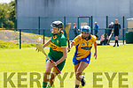 kerrys Ann Marie Leen stays well focused and aware that Aoife Nihill from Clare is closing in during the Liberty Insurance Premier Junior Championship Comogie game between the sides last Saturday in Abbeydorney.