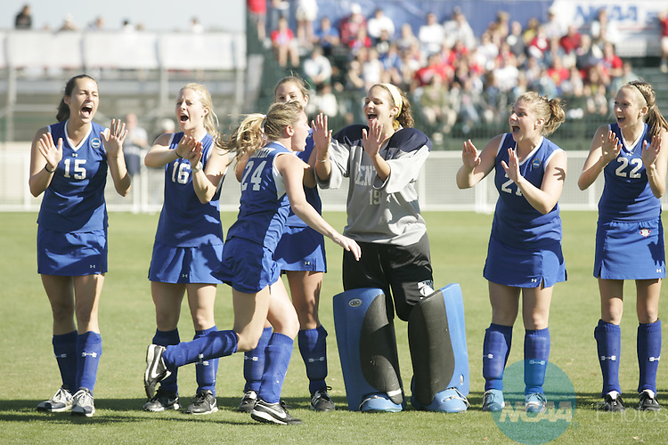 18 NOV 2006:  Bloomsburg College plays Bentley College in the Division II Women's Field Hockey Championship held at the Brosnaham Soccer Complex in Pensacola, FL.  Jamie Schwaberow/NCAA Photos