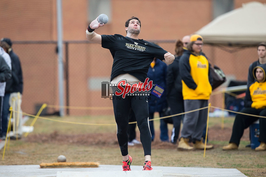 Steve Michaelsen of the Wake Forest Demon Deacons competes in the men's shot put at the Wake Forest Open on March 20, 2015 in Winston-Salem, North Carolina.  (Brian Westerholt/Sports On Film)