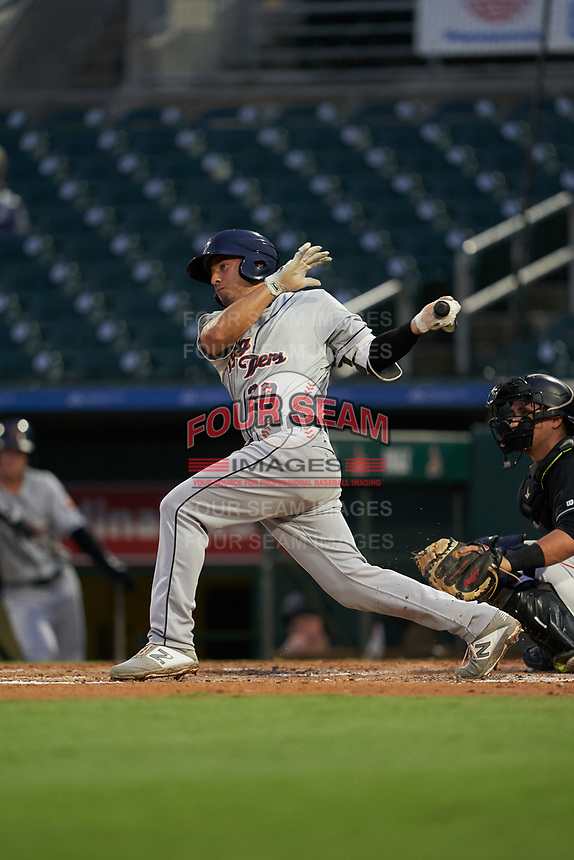 Lakeland Flying Tigers John Valente (20) at bat during a Florida State League game against the Jupiter Hammerheads on August 12, 2019 at Roger Dean Chevrolet Stadium in Jupiter, Florida.  Jupiter defeated Lakeland 9-3.  (Mike Janes/Four Seam Images)